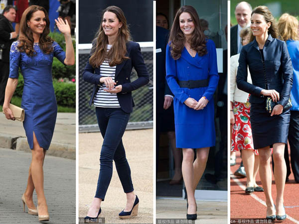 Princess Kate's navy blue dress style