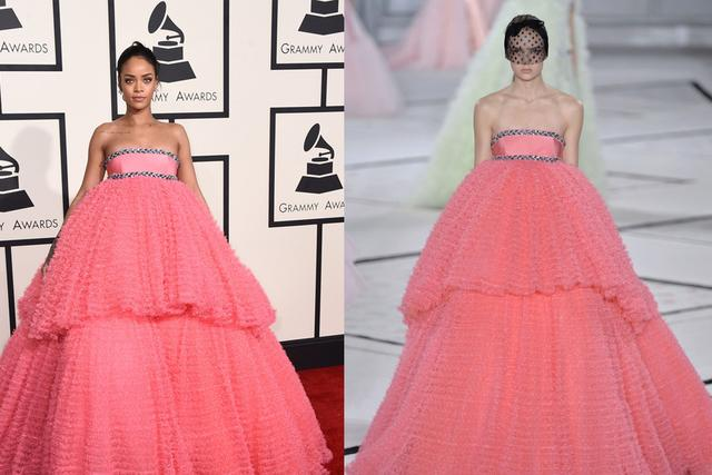 Rihanna's Giambattista Valli pink strapless ball gown evening dress