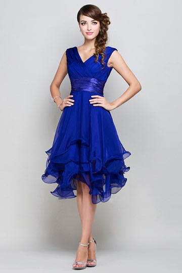 Sash V neck Knee Length Chiffon A line Formal Dress