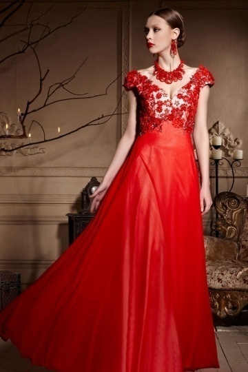 Sexy red appliques backless cap sleeves chiffong long formal dress