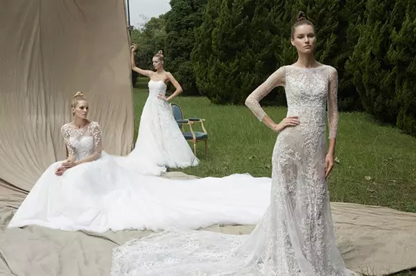 Three brides who wear lace wedding dresses