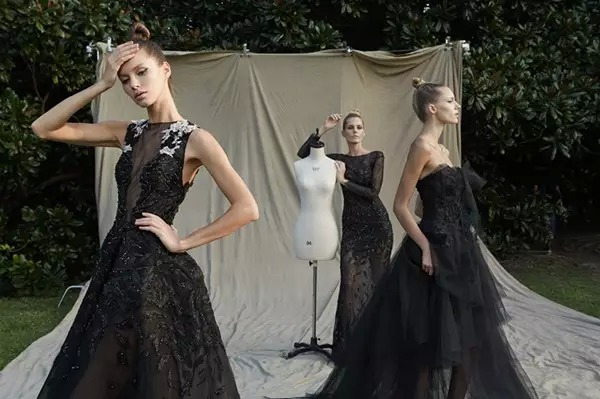 brides who wear black long wedding dresses