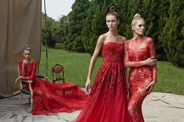 brides who wear red lace wedding dresses