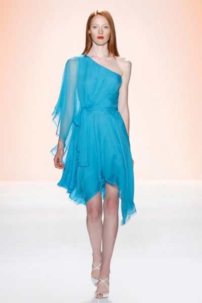 one shoulder blue formal dress