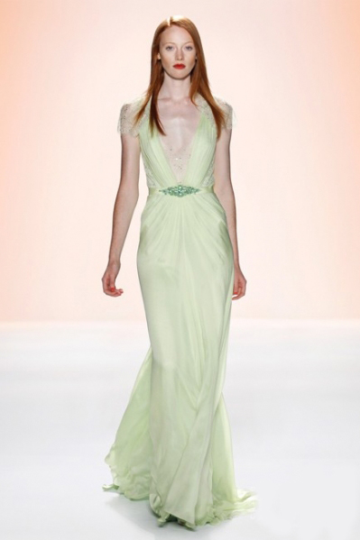 sexy v neck sheath green evening dress