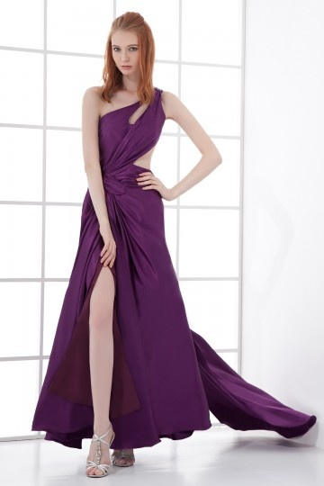 Sexy A line One Shoulder Slit Front Backless Beaded Hollow Trailing Formal Dress