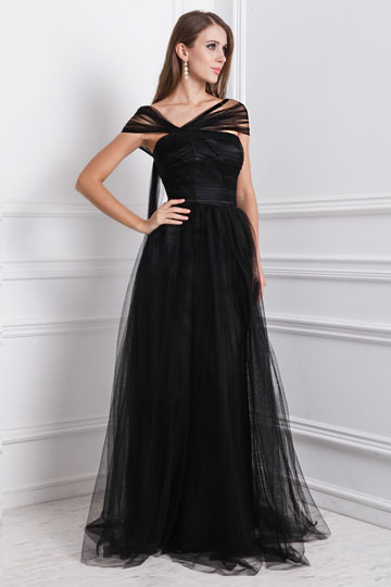 A line Empire Tilted V neck Cap Sleeve Ruching Tulle Formal Dress