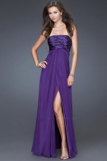 Beading Strapless Poly Chiffon Purple Split Front Formal Dress