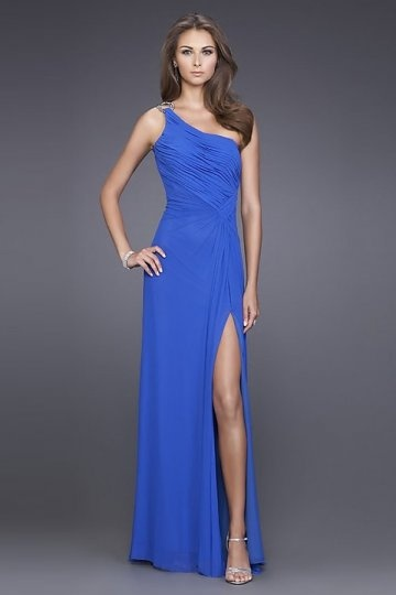 Sleek Beaded Slit Side One Shoulder Chiffon A line Formal Dress