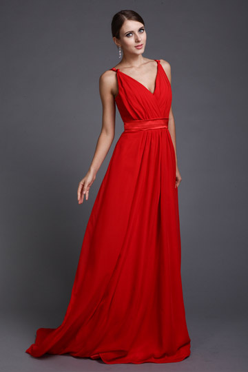 Sexy Spaghetti Straps Red Long Chiffon Formal Dress