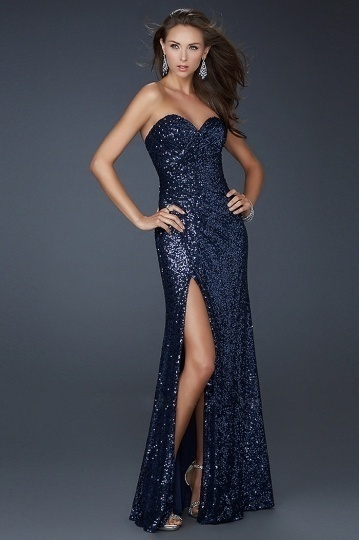 Ruched Slit Side Sweetheart Sequined Column Formal Dress