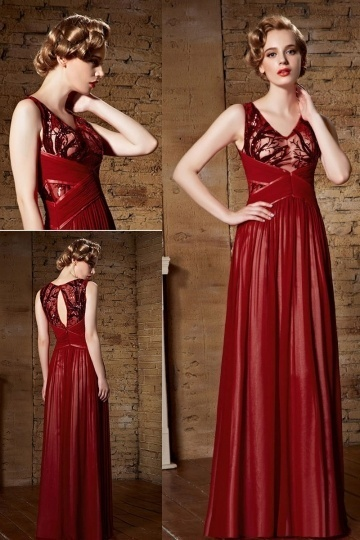 Chic Red Chiffon V Neck Long Sequins Formal Dresses