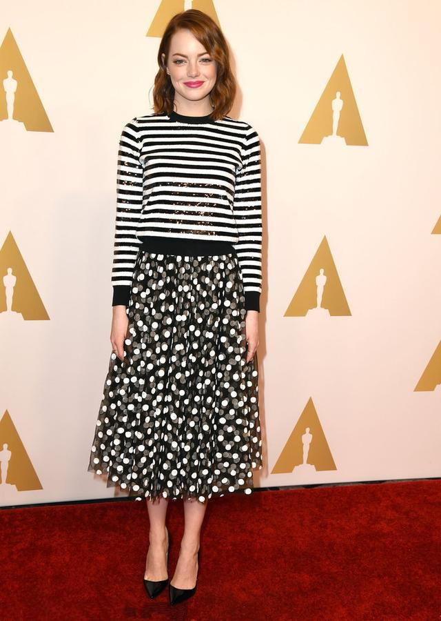 Emma Stone's tripe dot dress