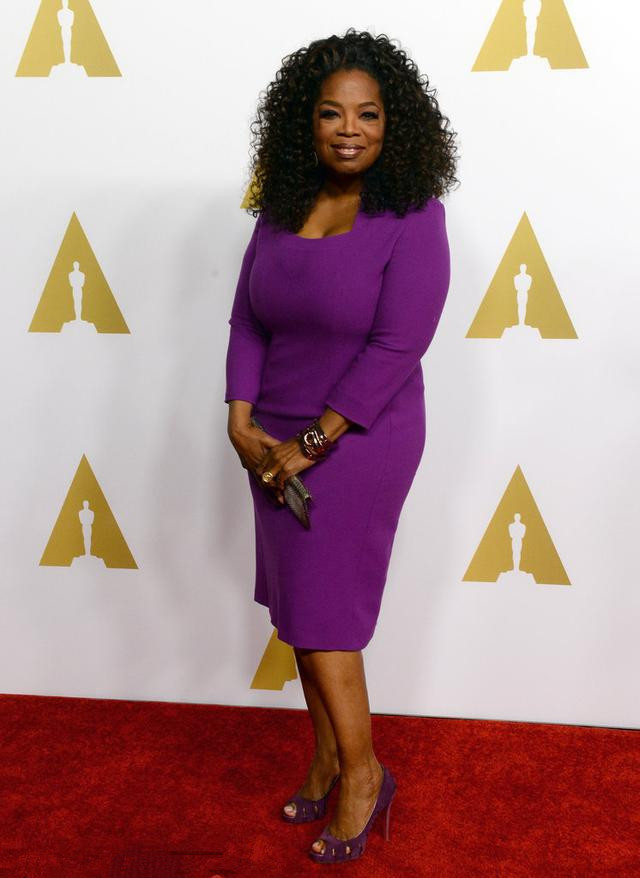 Oprah Winfrey's purple long dress