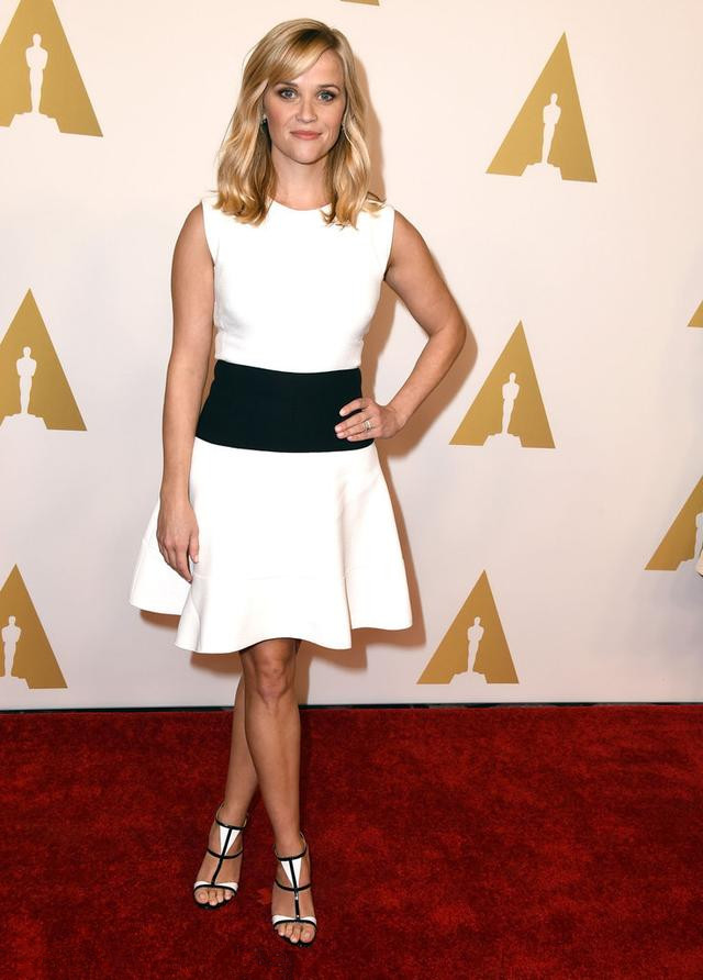 Reese Witherspoon's white short dress with black belt