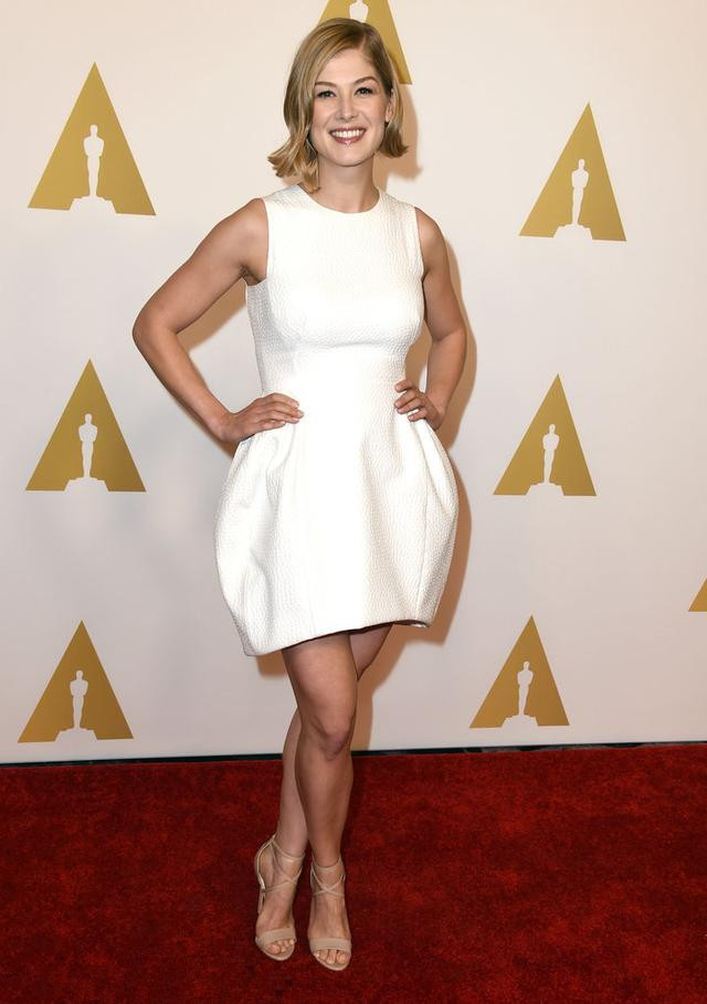 Rosamund Pike's white ball gown short evening dress
