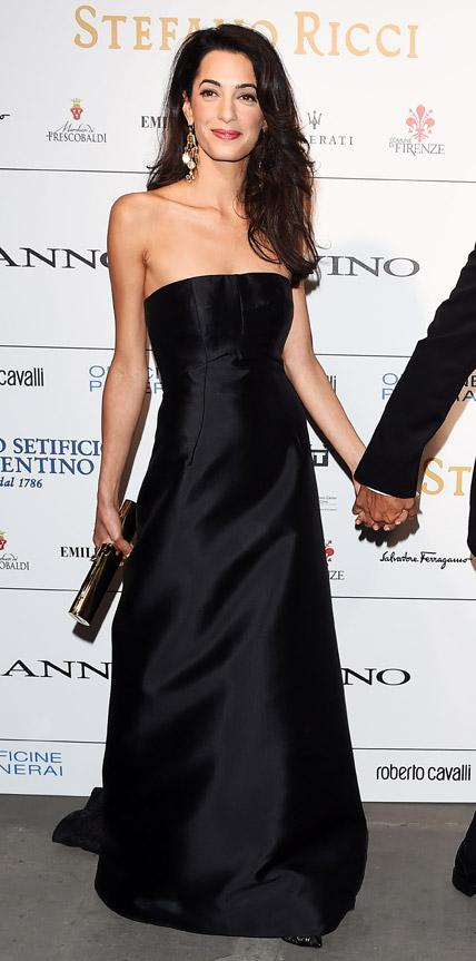 Amal Clooney's long black evening dress