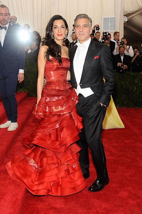 Amal Clooney's red cake skirt evening dress