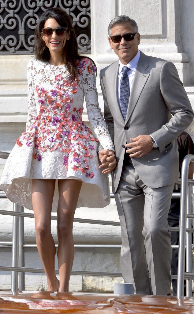 Amal Clooney's white mini lace formal dress