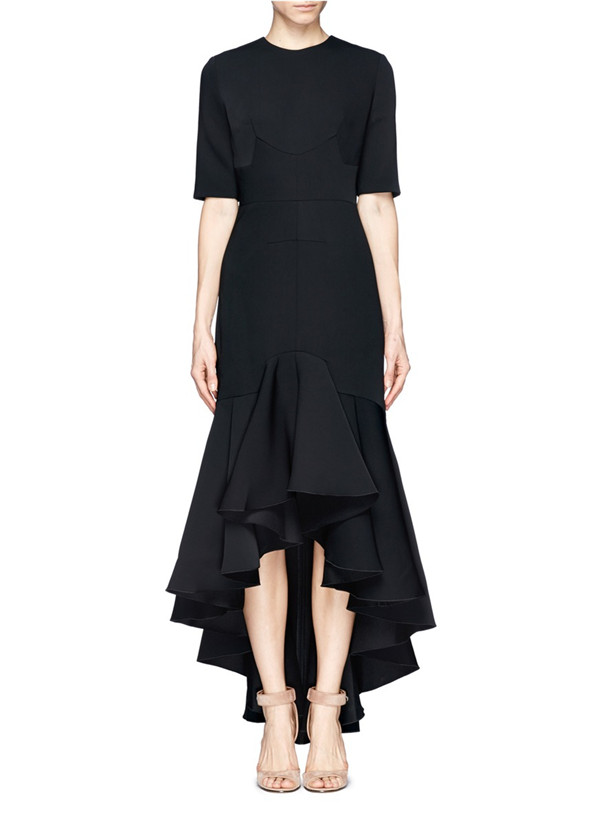 asymmetry black formal dress with middle length sleeves