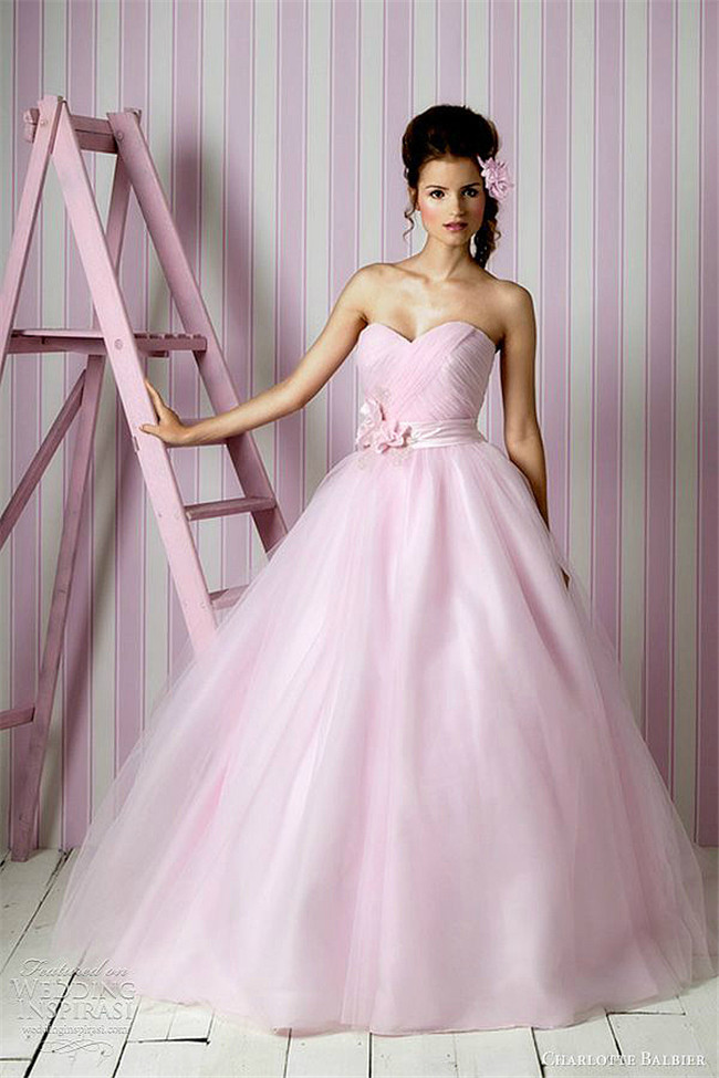 pink color ball gown formal dress