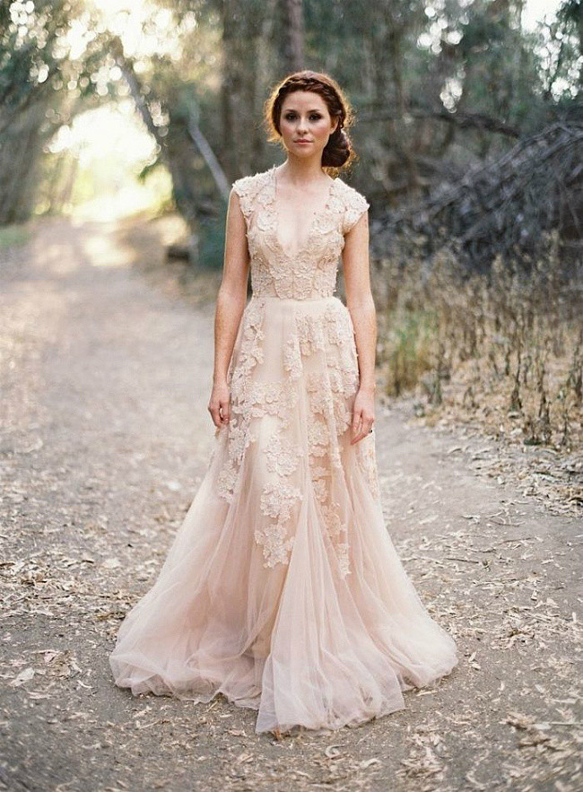 sexy v neck embroidery tulle formal dress