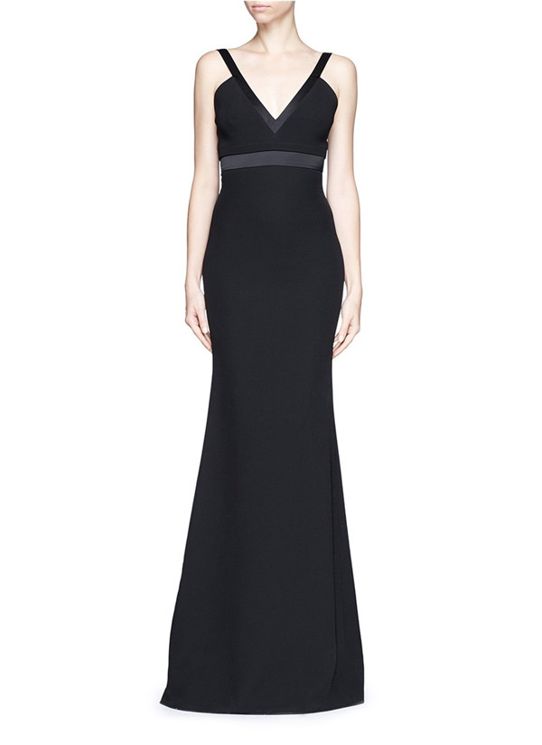 sexy v neck long black formal dress