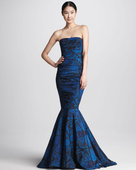Vera Wang Printed Strapless Ruched Mermaid Gown in Blue