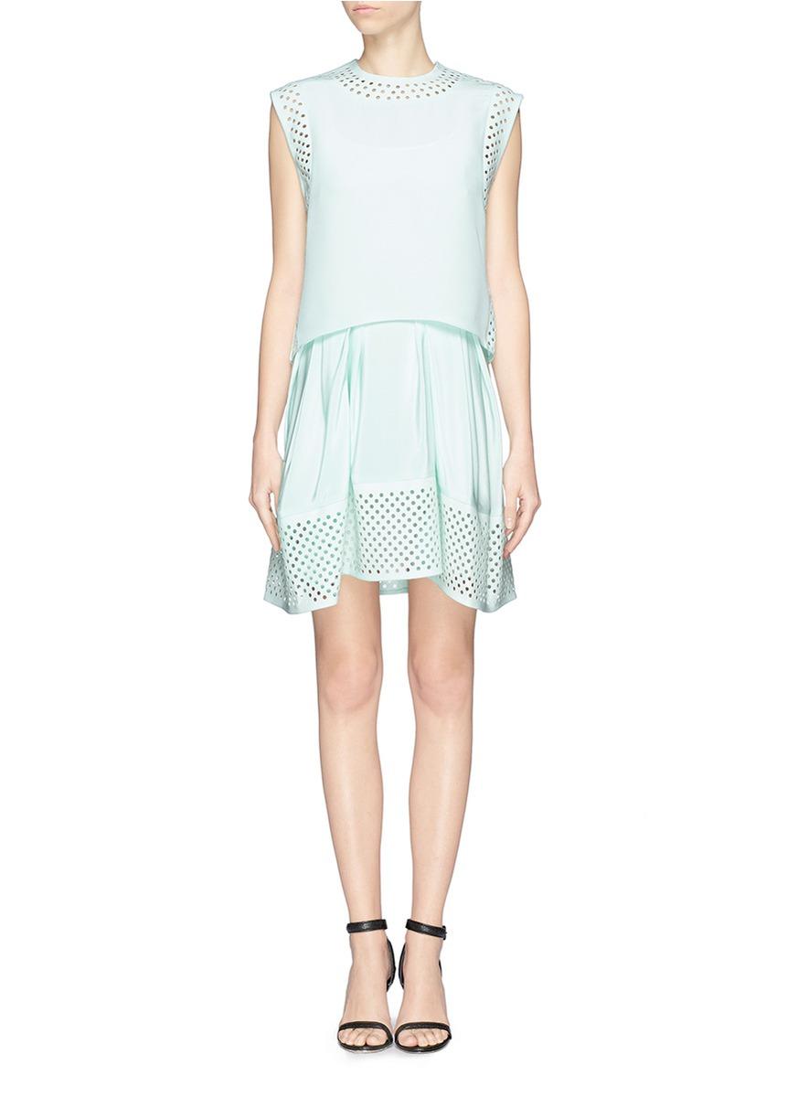 mint green hollow out short formal dress