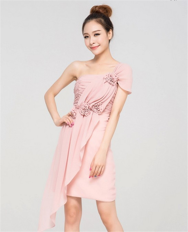 pink chiffon one shoulder flowers bridesmaid dress