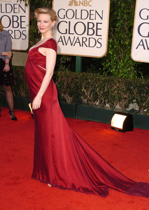 pregnant Kate's Donna Karan sexy dragging red formal dress